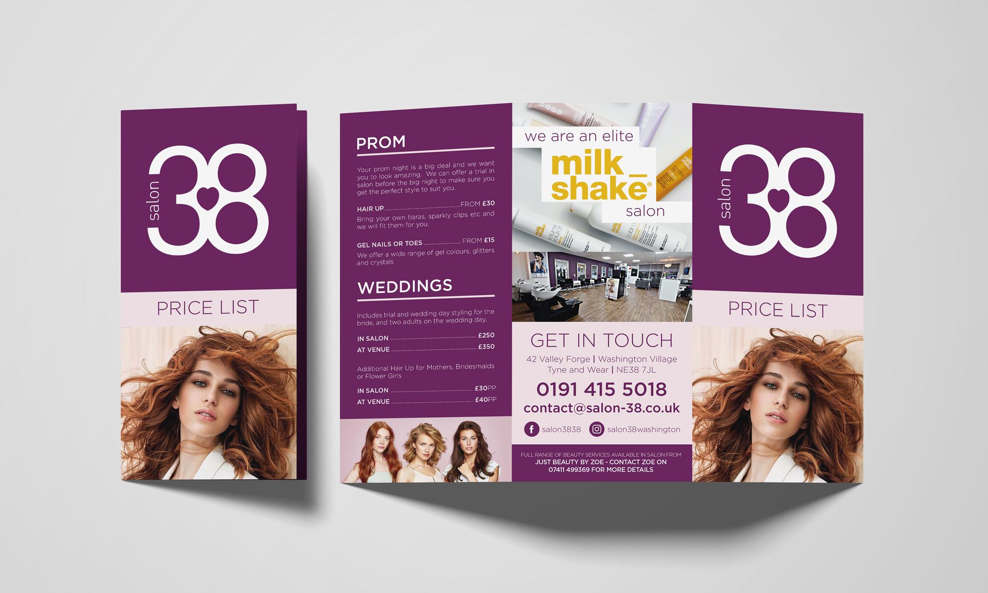 Salon 38 Price List Mockup